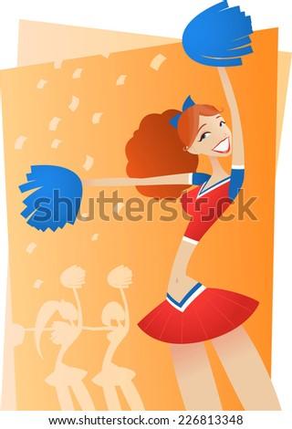 hot Cheering Cheerleader cartoon vector illustration - stock vector