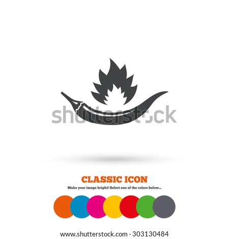 Hot chili pepper sign icon. Spicy food fire symbol. Classic flat icon. Colored circles. Vector - stock vector