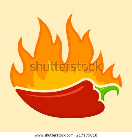 Hot Chili pepper with flames - stock vector