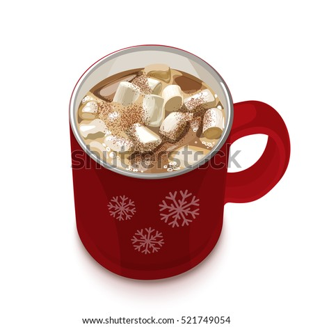 Red Snowflake Mug For Hot Chocolate With Spoon
