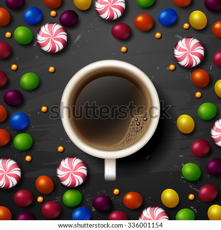 Hot Coffee cup. candy vector background - stock vector