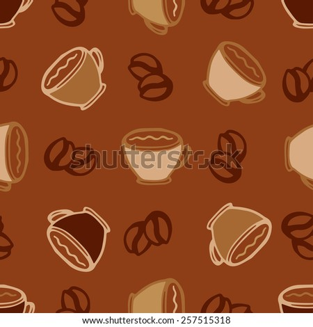 Hot coffee cups seamless pattern background for cafe or restaurant menu design - stock vector