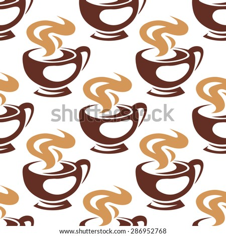 Hot coffee or chocolate seamless pattern with steaming brown cups on white background in sketch style, for menu or textile design - stock vector