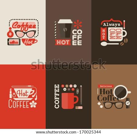 Hot coffee. Set design elements - stock vector