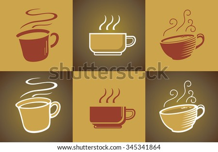 Hot Coffee Set-Vector illustration of tiled coffee set