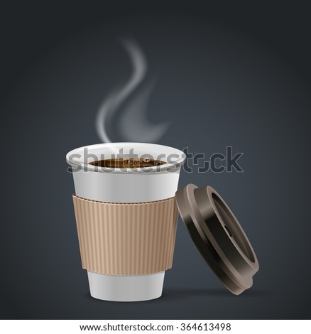 Hot coffee take away paper cup with open lid. - stock vector