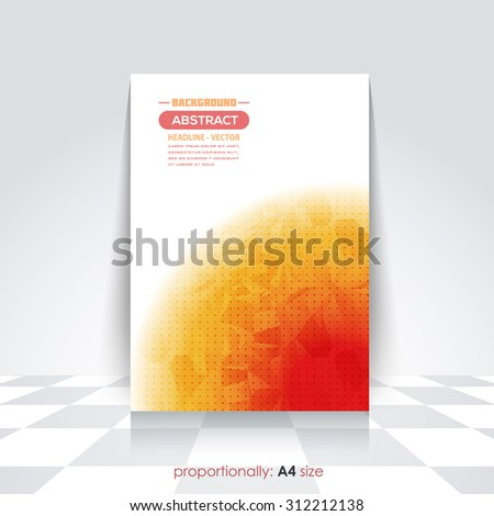 Hot Colors Low Poly Style A4 Flyer. Cover Design, Corporate Leaflet, Brochure Template  - stock vector