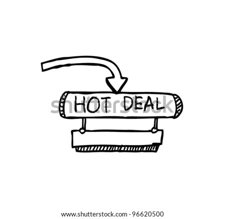 hot deal banner with arrow vector illustration - stock vector