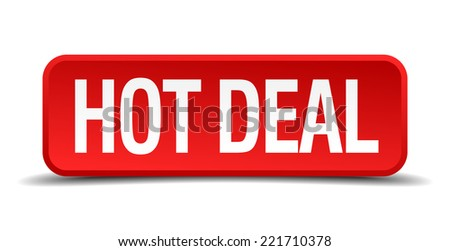 Hot deal red 3d square button on white background - stock vector