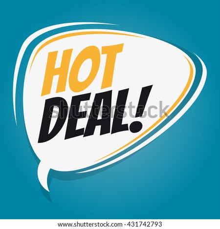 hot deal retro speech bubble