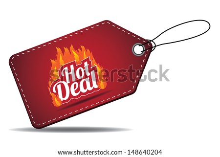 Hot deal sales tag. EPS 10 vector, grouped for easy editing. No open shapes or paths. - stock vector