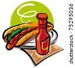 hot dog and ketchup - stock vector