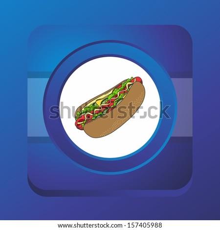 hot dog blue button art - stock vector
