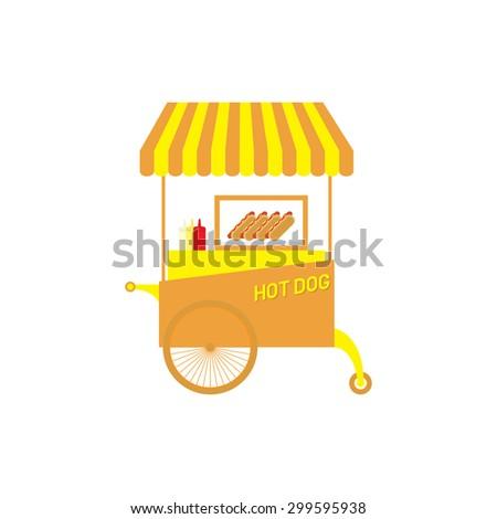 hot dog cart vector illustration - stock vector