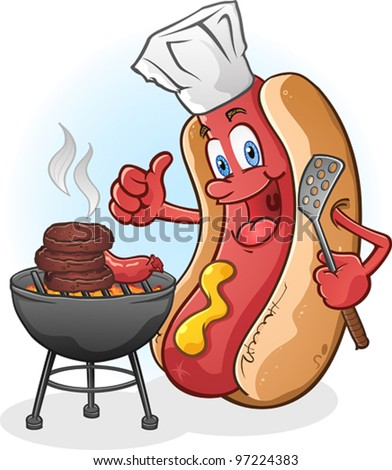 Hot Dog Cartoon Character Grilling Burgers Outside