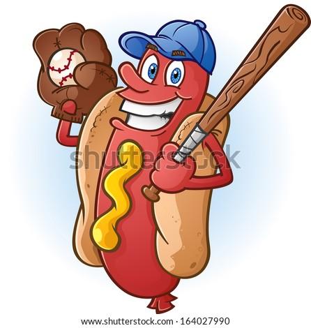 Hot Dog Cartoon Character Playing Baseball - stock vector