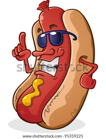 Hot Dog Cartoon Character Wearing Sunglasses With Attitude - stock vector
