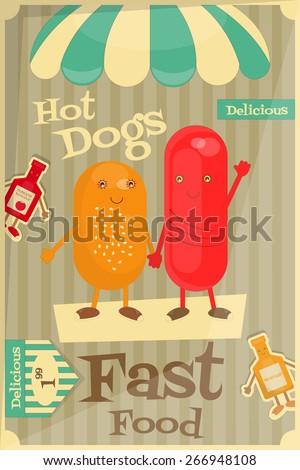 Hot Dog Cartoon - Funny Menu Cover with Sausage, Bun, Mustard and Ketchup. Vector Illustration. - stock vector
