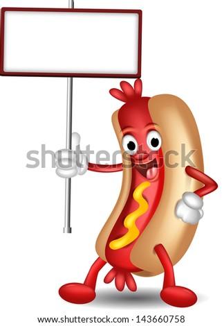 hot dog cartoon holding blank board - stock vector
