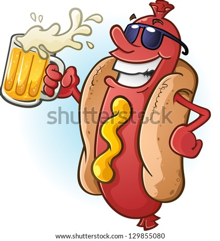 Hot Dog Cartoon Wearing Sunglasses and Drinking Cold Beer - stock vector