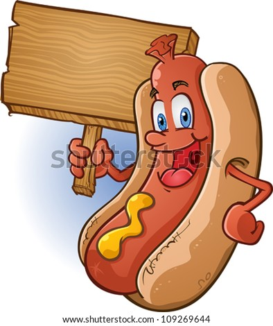 Hot Dog Character Holding A Sign - stock vector