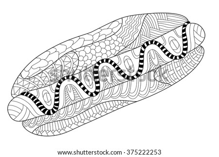 hot dog coloring page illustration