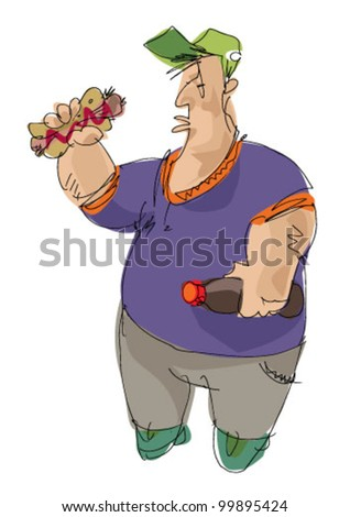 hot-dog eater - joke - cartoon - stock vector
