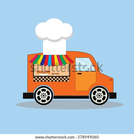 hot dog fast food car - stock vector