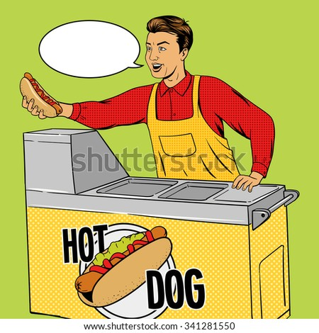 Hot dog guy pop art cartoon style vector illustration. Comic book imitation. Hot dog vendor.