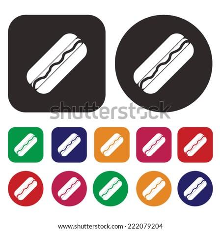 Hot dog icon - stock vector