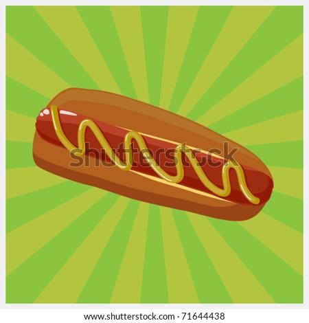 Hot dog illustration 2. Vector - stock vector