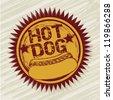hot dog label over beige background. vector illustration - stock vector