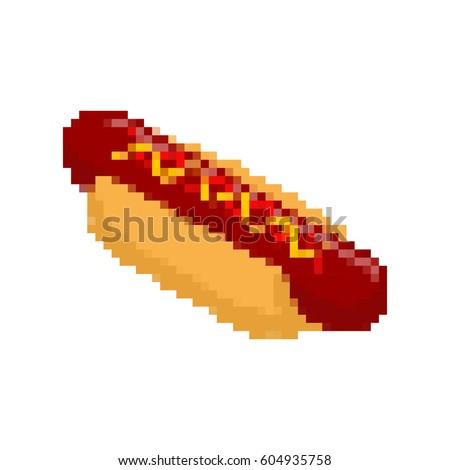 Hot Dog Pixel Art Fastfood Pixelated Stock Vector