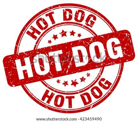hot dog red grunge round vintage rubber stamp.hot dog stamp.hot dog round stamp.hot dog grunge stamp.hot dog.hot dog vintage stamp. - stock vector
