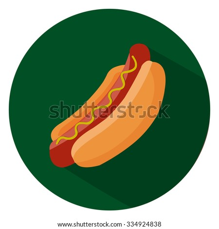hot dog sandwich flat icon - stock vector