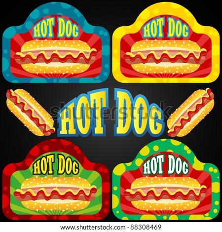 Hot dog set - stock vector