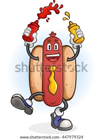 Hot Dog Squirting Ketchup and Mustard Cartoon Character - stock vector