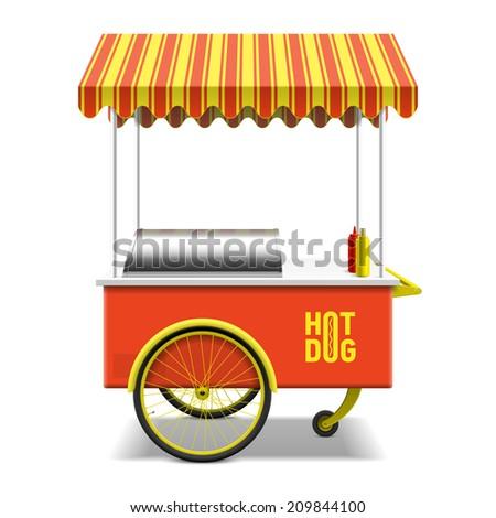 Hot dog, street cart. Vector. - stock vector