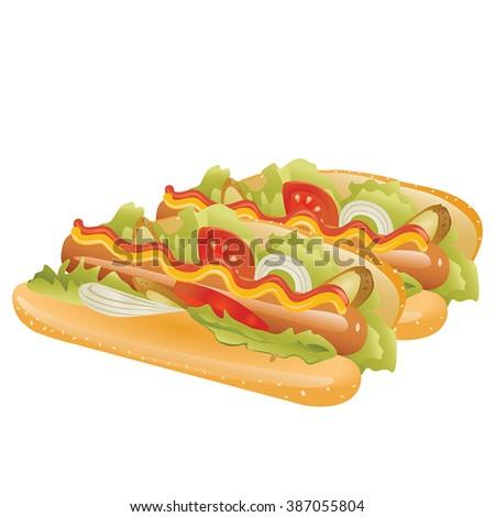 Hot dog. Vector illustration. - stock vector
