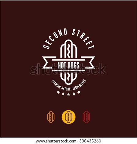 hot dog vector logo, fast food, junk food - stock vector