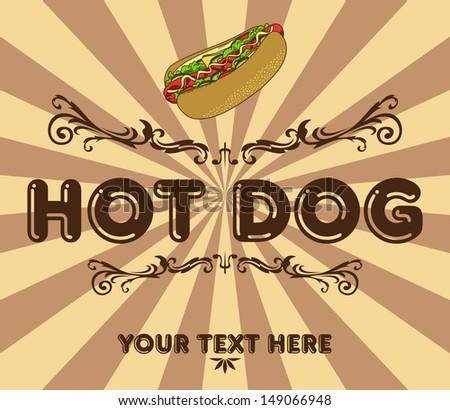 hot dog vintage - stock vector