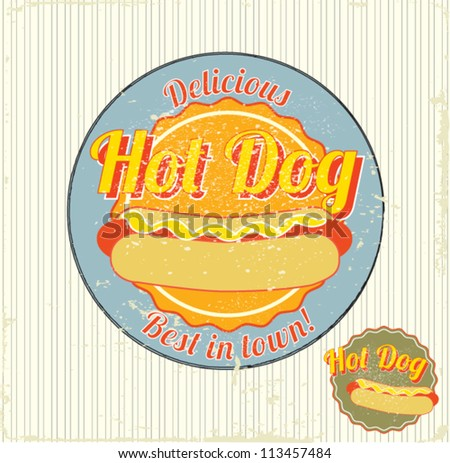 hot dog vintage sign vector illustration - stock vector