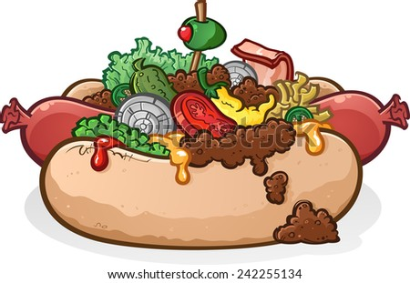 Hot Dog With Lots of Toppings - stock vector
