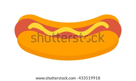 Hot dog with mustard and hot dog isolated with ketchup. Hotdog isolated on white background and mustard grilled fast frankfurter hotdog isolated. American dinner barbecue unhealthy food. - stock vector