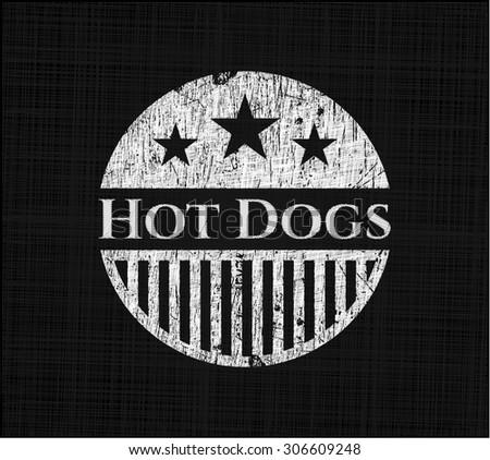 Hot Dogs on blackboard - stock vector