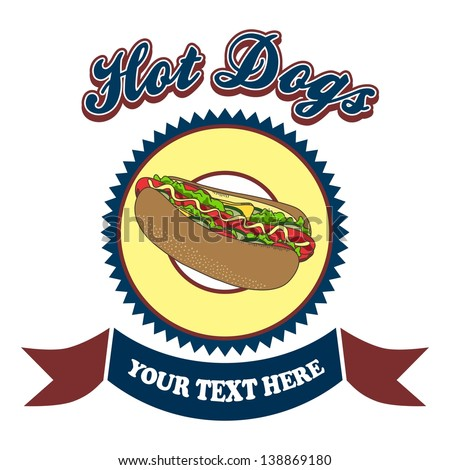 hot dogs vintage label - stock vector