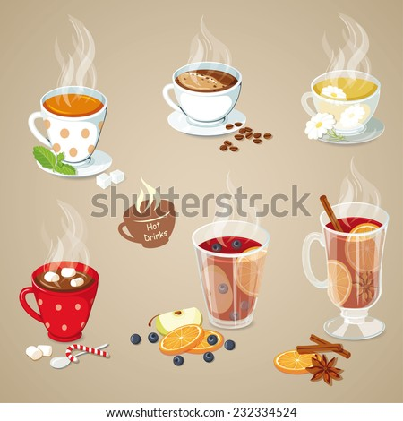 Hot drinks icons set. Christmas food collection. Vector illustration with tea, coffee, hot chocolate, mulled wine and punch - stock vector