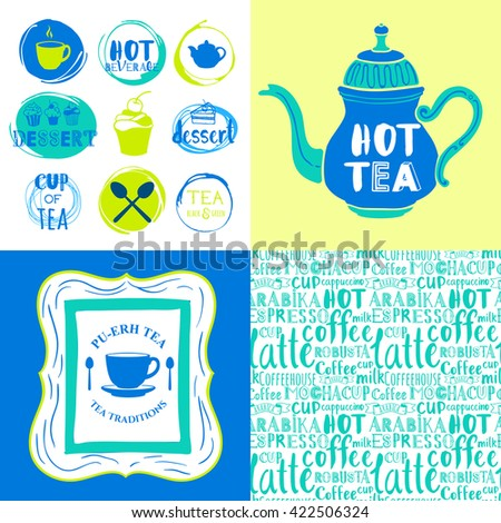 Hot drinks menu. Vector Illustration with cups, teapots and pattern. Decorative elements for your packing design. Multicolor decor. - stock vector