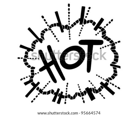 Hot Exploding Header - Retro Clipart Illustration - stock vector