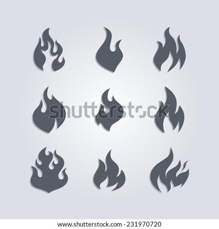 hot fire - stock vector